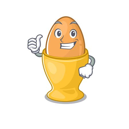 Funny egg cup making Thumbs up gesture. Vector illustration