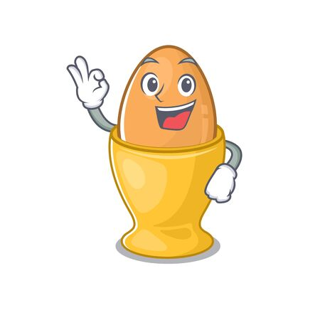 A funny picture of egg cup making an Okay gesture. Vector illustration