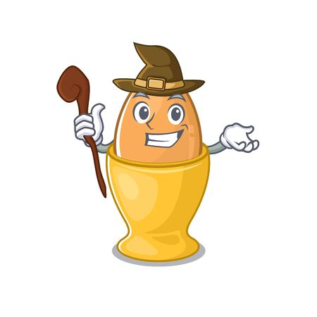 a mascot concept of egg cup performed as a witch. Vector illustration Ilustracja