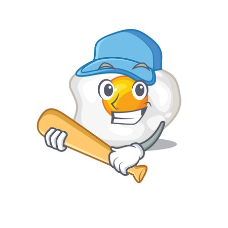 Smiley Funny fried egg a mascot design with baseball. Vector illustration