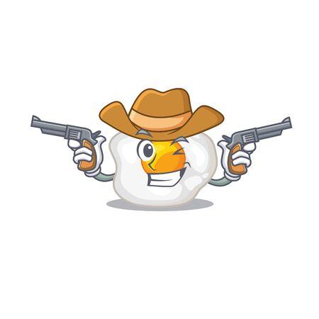 Fried egg Cowboy cartoon concept having guns
