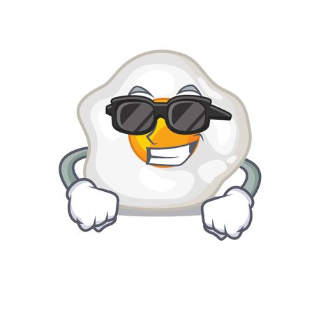 Super cool fried egg character wearing black glasses Vectores