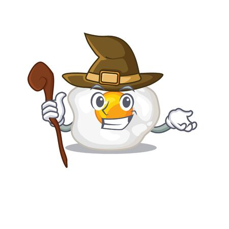 a mascot concept of fried egg performed as a witch