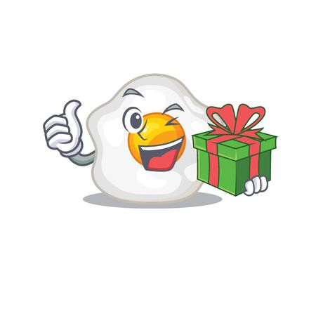 Happy fried egg character having a gift box