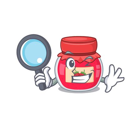 Elegant and Smart strawberry jam Detective cartoon design concept