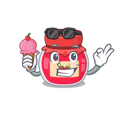 happy face strawberry jam cartoon design with ice cream