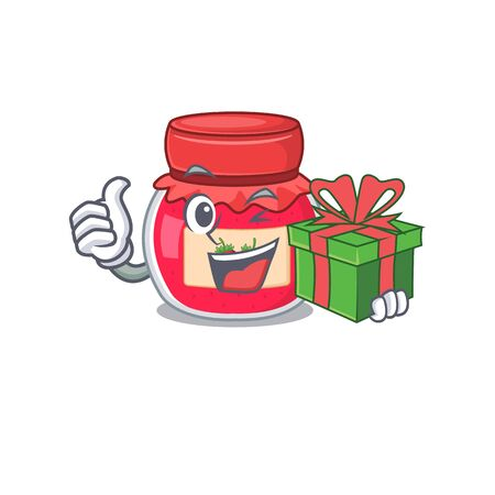 Happy strawberry jam character having a gift box. Vector illustration Stock Illustratie