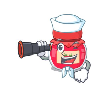 A picture of strawberry jam working as a Sailor with binocular