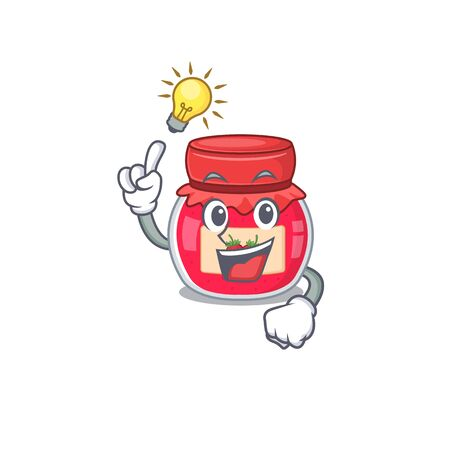 a clever strawberry jam cartoon character style have an idea gesture 일러스트