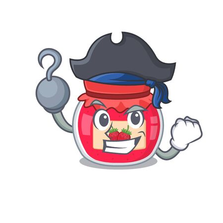 Cute strawberry jam mascot design with a hat 일러스트
