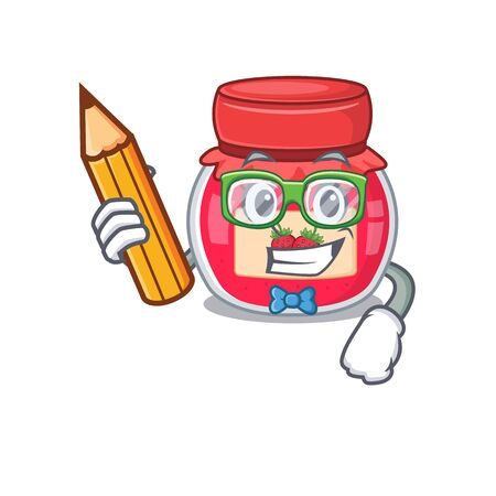 A smart Student strawberry jam character holding pencil