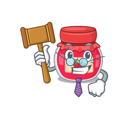 Smart Judge strawberry jam in mascot cartoon character style 일러스트