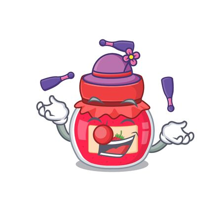 a lively strawberry jam cartoon character design playing Juggling