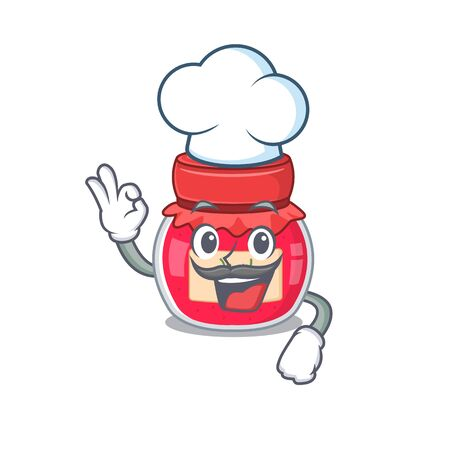 Strawberry jam cartoon character working as a chef and wearing white hat Illustration