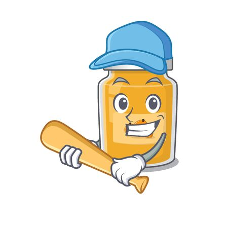 Smiley Funny apricot a mascot design with baseball Ilustracja