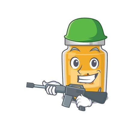 A cute picture of apricot Army with machine gun