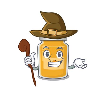 a mascot concept of apricot performed as a witch