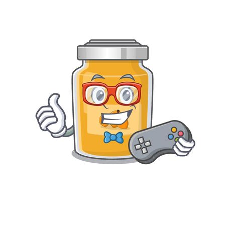 Smiley gamer apricot cartoon in mascot style Illustration