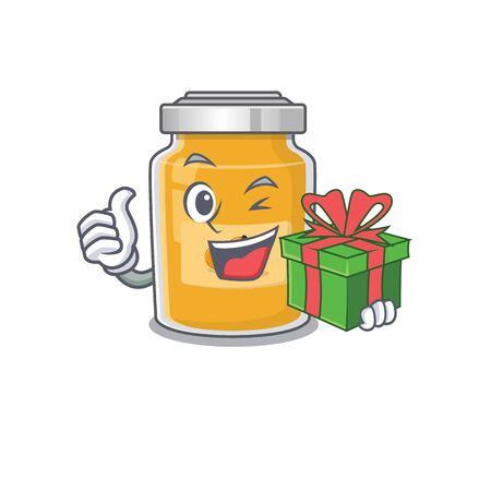 Happy apricot character having a gift box