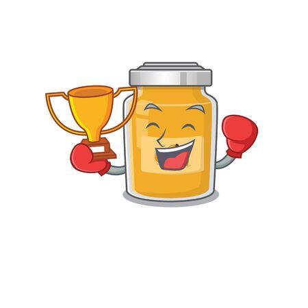 fantastic Boxing winner of apricot in mascot cartoon design