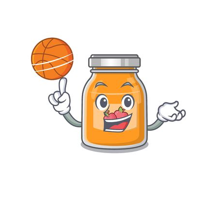 A mascot picture of apple jam cartoon character playing basketball