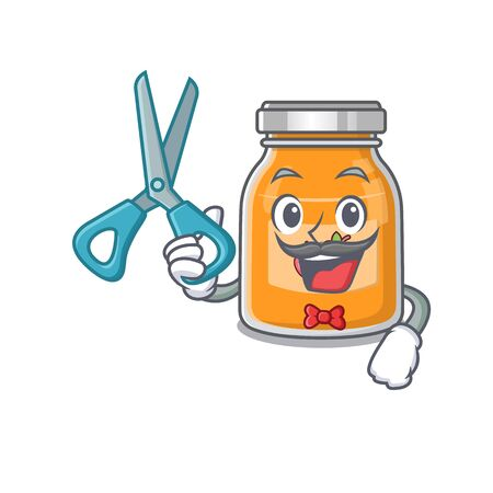 Cartoon character of Sporty Barber apple jam design style