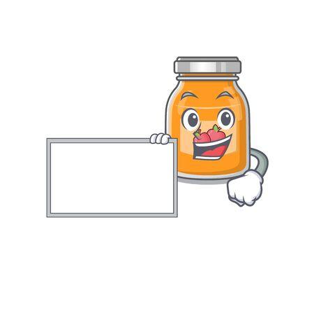 cartoon character of apple jam design concept bring a board