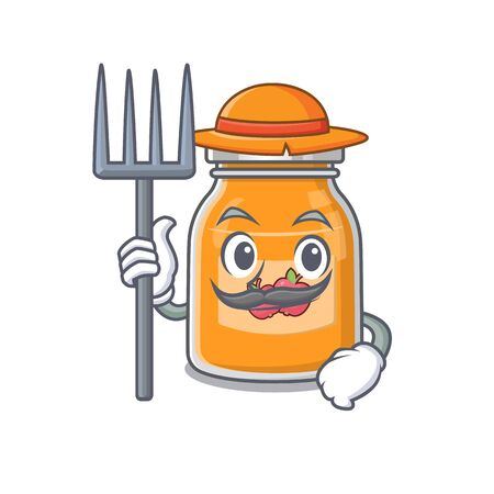 Happy Farmer apple jam cartoon picture with hat and tools Illustration