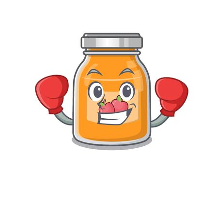 mascot character style of Sporty Boxing apple jam Illustration