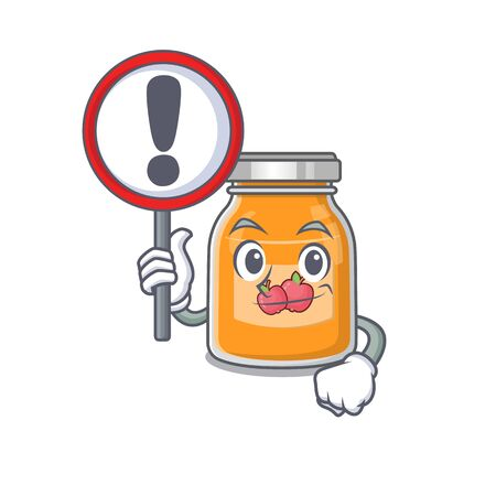 cute mascot character style of apple jam raised up a sign. Vector illustration Ilustração
