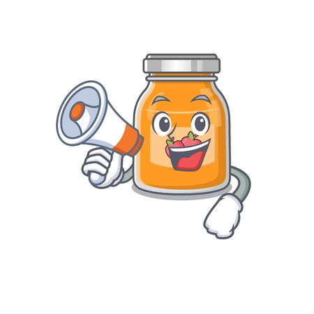 A mascot of apple jam speaking on a megaphone Banque d'images - 140535550