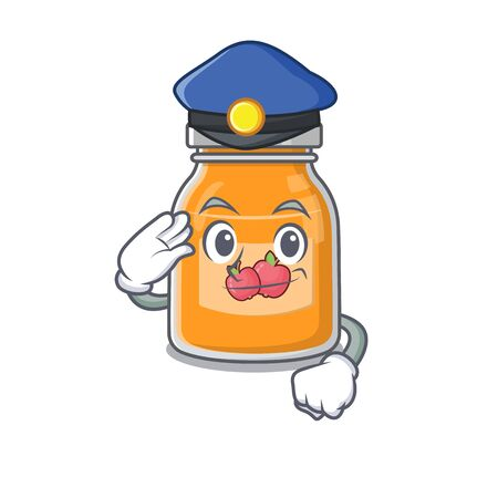 A manly apple jam Cartoon concept working as a Police officer