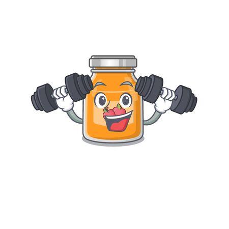 Sporty Fitness exercise apple jam mascot design using barbells