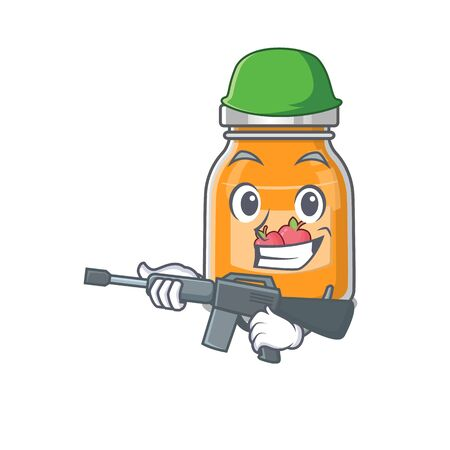 A cute picture of apple jam Army with machine gun