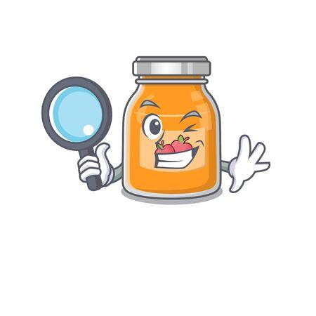 Elegant and Smart apple jam Detective cartoon design concept 向量圖像