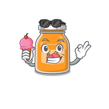 happy face apple jam cartoon design with ice cream 向量圖像