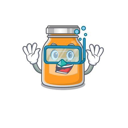 cartoon character of apple jam wearing Diving glasses Illustration