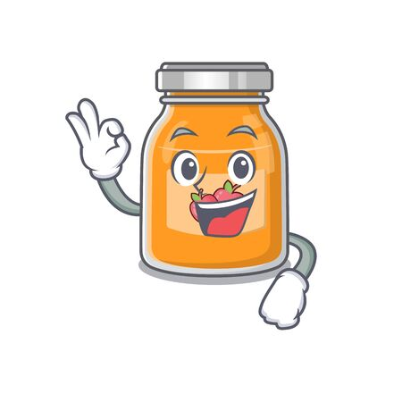 A funny picture of apple jam making an Okay gesture