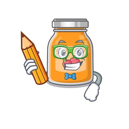 A smart Student apple jam character holding pencil