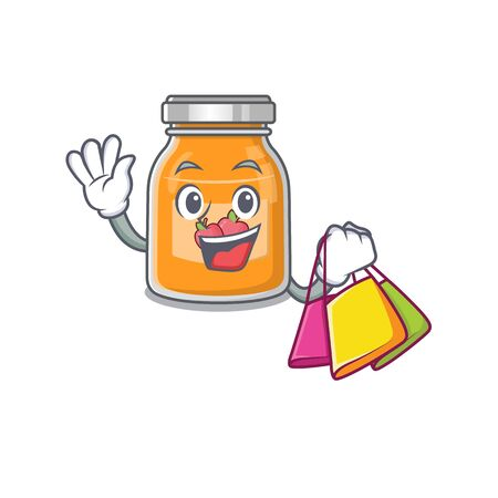 A friendly rich apple jam waving and holding Shopping bag