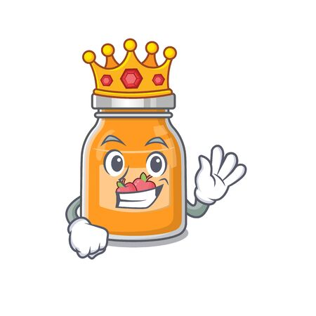 A cartoon mascot design of apple jam performed as a King on the stage