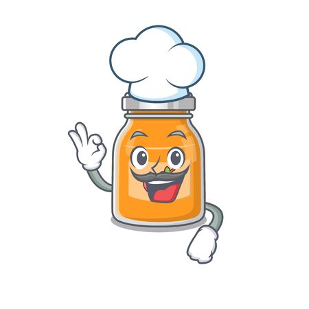 Apple jam cartoon character working as a chef and wearing white hat