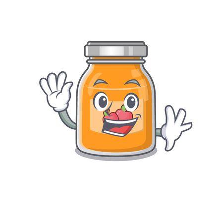 Waving friendly apple jam mascot design style
