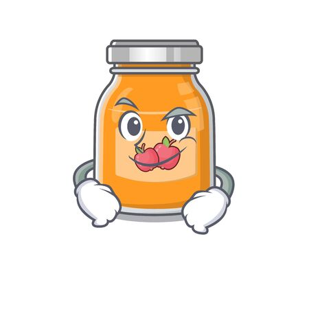 Cool apple jam mascot character with Smirking face 向量圖像