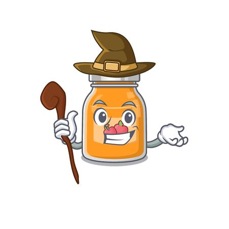 a mascot concept of apple jam performed as a witch