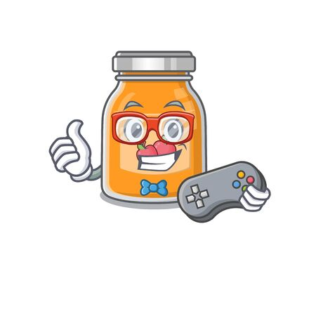 Smiley gamer apple jam cartoon mascot style Illustration