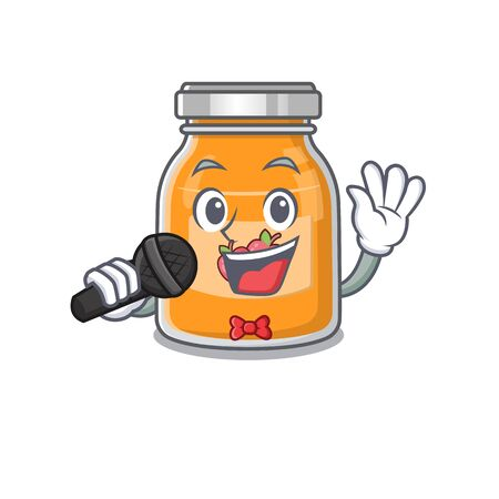 Happy apple jam singing on a microphone