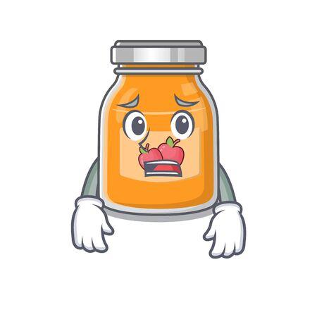 A picture of apple jam having an afraid face Ilustração