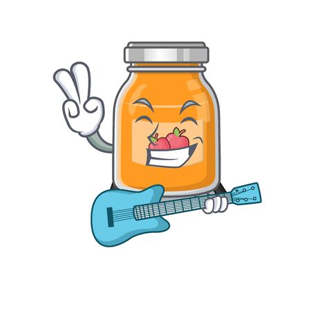 A picture of apple jam playing a guitar 向量圖像