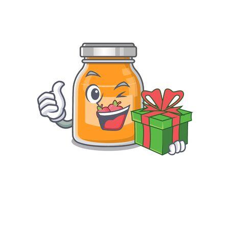 Happy apple jam character having a gift box